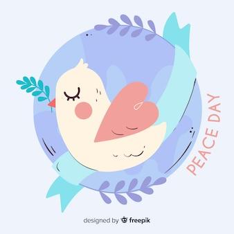 Ręcznie rysowane dzień pokoju z gołębicą