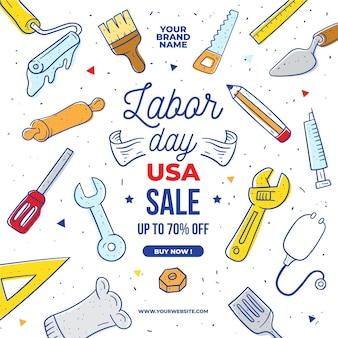 Ręcznie rysowane dzień pracy sprzedaż usa
