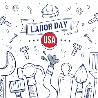 Ręcznie rysowane dzień pracy usa
