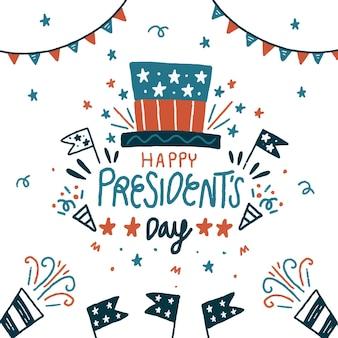 Ręcznie rysowane dzień prezydenta