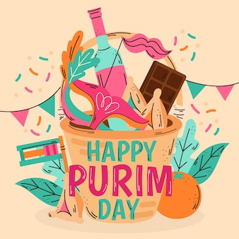Ręcznie rysowane dzień purim