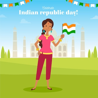 Ręcznie rysowane dzień republiki indii