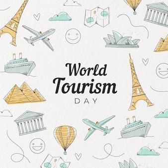 Ręcznie rysowane dzień turystyki
