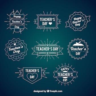 Ręcznie rysowane dziennie odznaczenia rocznika nauczyciela