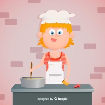 Ręcznie rysowane dziewczyna gotowania tło