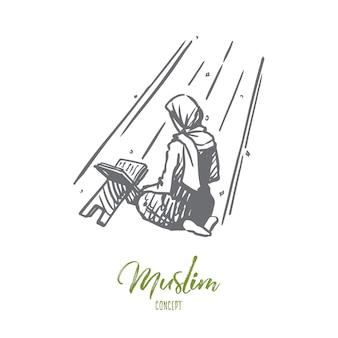 Ręcznie rysowane dziewczyna modląc się na kolanach szkic koncepcji.