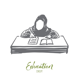 Ręcznie rysowane dziewczyna nauka z szkic koncepcji książki.