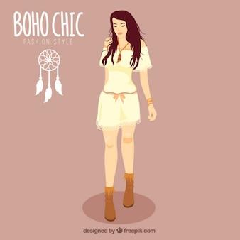 Ręcznie rysowane dziewczyna ubrana boho-chic ubrania