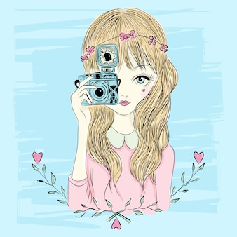 Ręcznie rysowane dziewczynka ilustracja