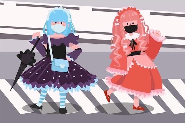 Ręcznie rysowane dziewczyny w stylu lolita zilustrowane