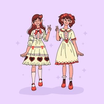 Ręcznie rysowane dziewczyny w stylu lolita