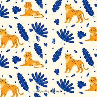 Ręcznie rysowane dziki tygrys wzór