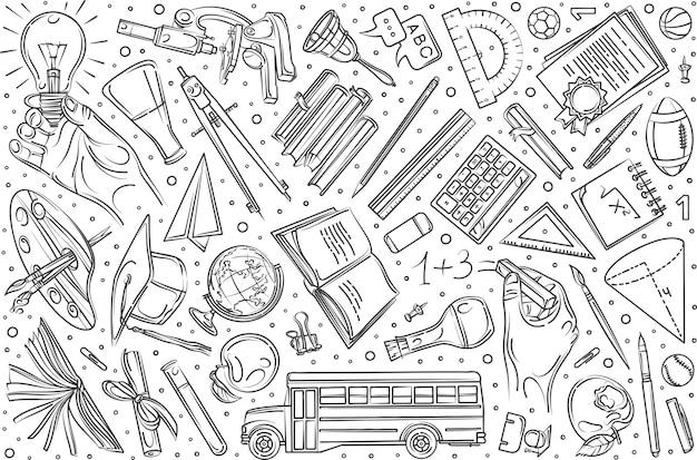 Ręcznie rysowane edukacji zestaw doodle tło