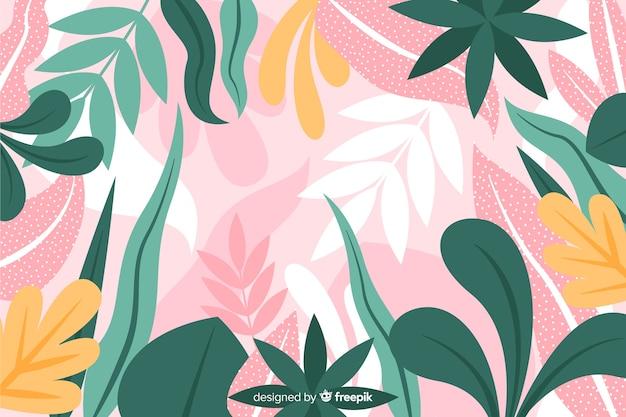 Ręcznie rysowane egzotyczne liście tło