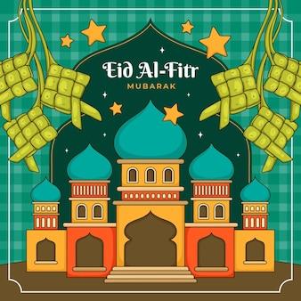 Ręcznie rysowane eid al-fitr - ilustracja hari raya aidilfitri