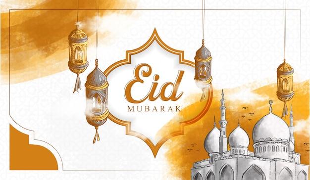 Ręcznie rysowane eid mubarak ilustracja