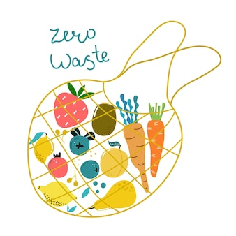 Ręcznie rysowane eko torba z warzywami i owocami i tekstem zero waste odizolowana nowoczesna ilustracja