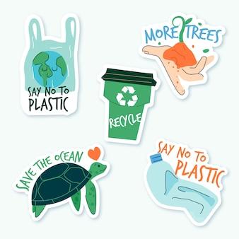 Ręcznie rysowane ekologia koncepcja odznaki