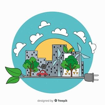 Ręcznie rysowane ekologia koncepcja tło