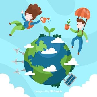Ręcznie rysowane ekologia koncepcja z naturalnych elementów