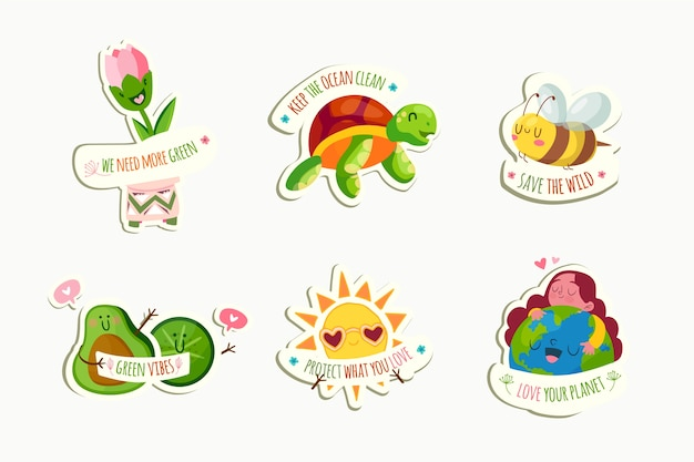 Ręcznie rysowane ekologia odznaki ze zwierzętami i ziemi