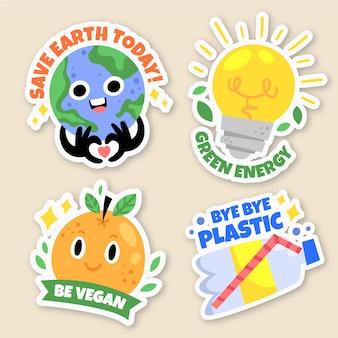 Ręcznie rysowane ekologia odznaki