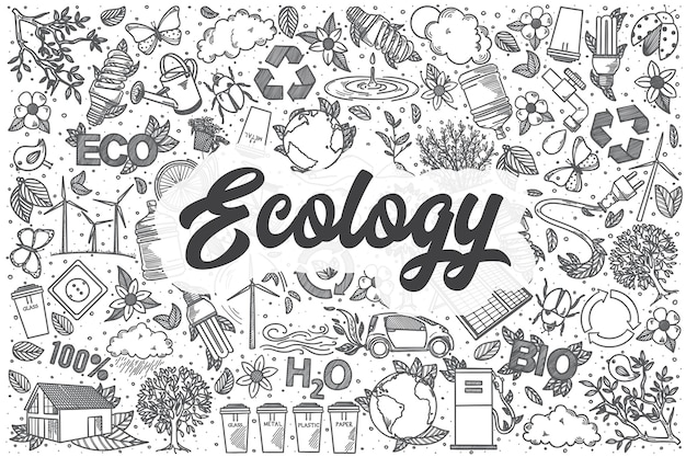 Ręcznie rysowane ekologia zestaw doodle. napis - ekologia
