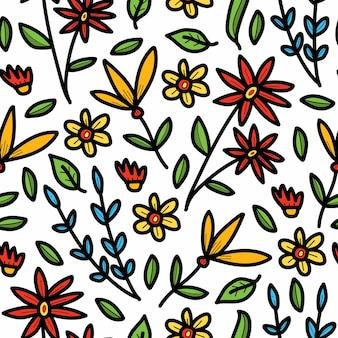 Ręcznie rysowane elegancki kwiat doodle kreskówka wzór