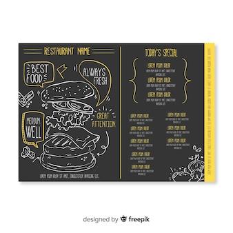 Ręcznie rysowane elegancki szablon menu restauracji