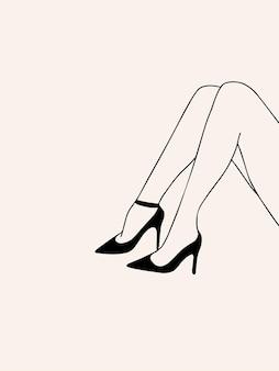 Ręcznie rysowane eleganckie nogi kobiety w modnym stylu sztuki linii estetycznej kobiecej sylwetki wektor