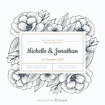 Ręcznie rysowane eleganckie zaproszenie na ślub