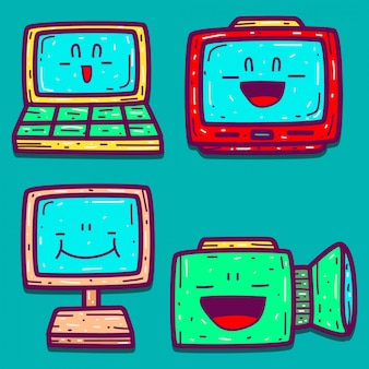 Ręcznie rysowane elektroniczny kreskówka doodle projekt