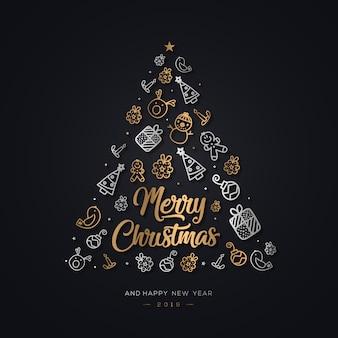 Ręcznie rysowane element christmas background