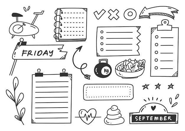 Ręcznie rysowane element doodle dziennik tematu sportu lub ćwiczeń