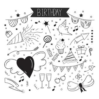Ręcznie rysowane element doodle z okazji urodzin