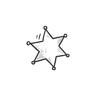 Ręcznie rysowane element gwiazdy szeryfa. komiks doodle styl szkicu. kowboj, ikona zachodniej koncepcji. ilustracja na białym tle wektor.