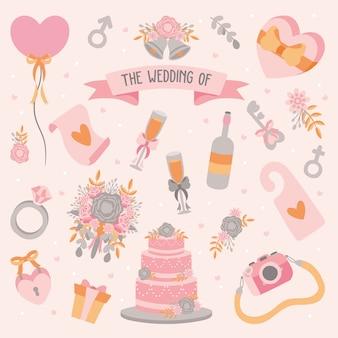 Ręcznie rysowane element ślubu