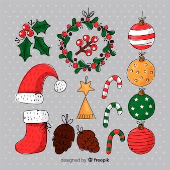 Ręcznie rysowane element świąteczny pakiet