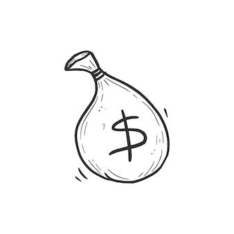 Ręcznie rysowane element worek pieniędzy. doodle styl szkicu. rysowanie linii prosta ikona worek pieniędzy. ilustracja na białym tle wektor.