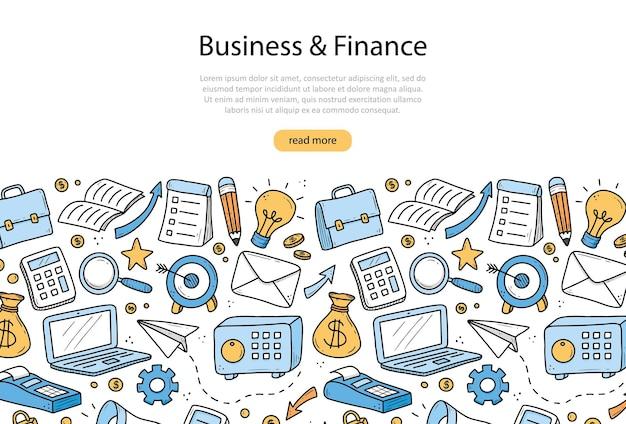 Ręcznie rysowane elementy biznesu i finansów, moneta, kalkulator, świnka, pieniądze. doodle styl szkicu.