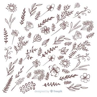 Ręcznie rysowane elementy dekoracji kwiatowych