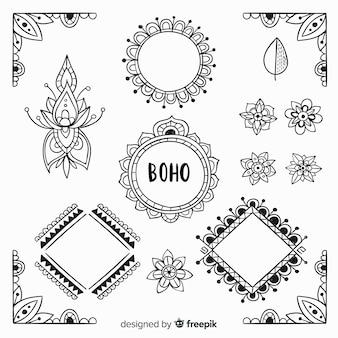 Ręcznie rysowane elementy dekoracyjne boho