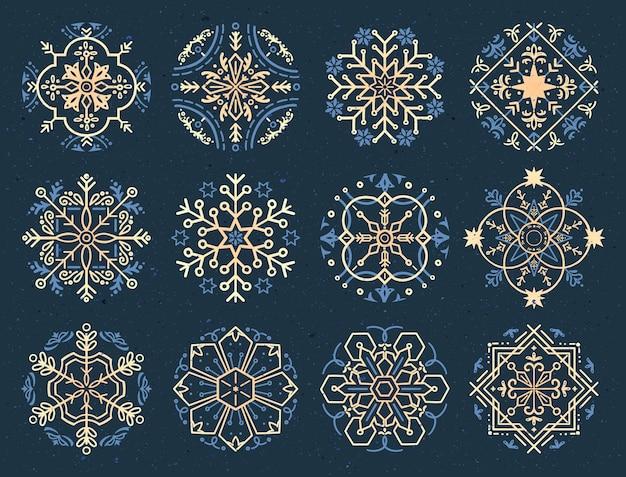 Ręcznie rysowane elementy dekoracyjne mandali śnieżynka.
