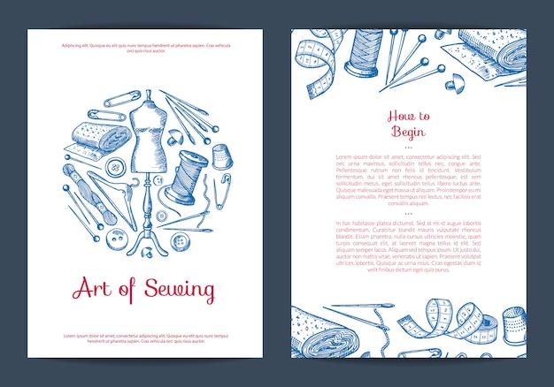 Ręcznie rysowane elementy do szycia karty, szablon ulotki dla atelier lub ilustracja klas szycia