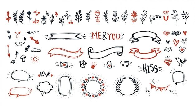 Ręcznie rysowane elementy doodle
