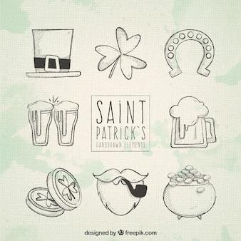 Ręcznie rysowane elementy dzień świętego patryka