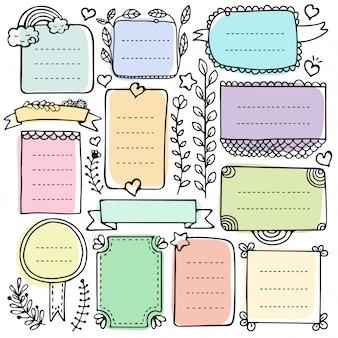 Ręcznie rysowane elementy dziennika bullet do notebooka, pamiętnika i terminarza. doodle ramki na białym tle.