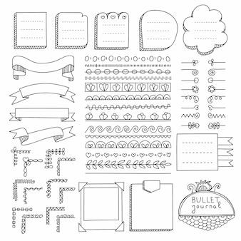 Ręcznie rysowane elementy dziennika punktorów do notatnika, pamiętnika i terminarza. doodle banery