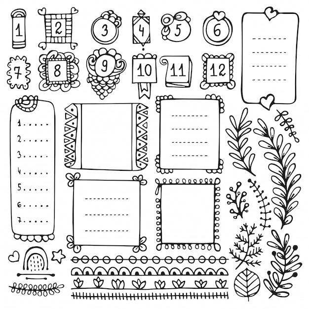 Ręcznie rysowane elementy dziennika punktorów do notatnika, pamiętnika i terminarza. doodle ramki na białym tle