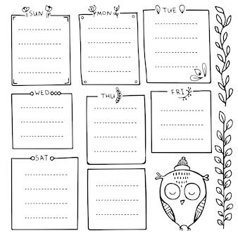 Ręcznie rysowane elementy dziennika punktorów do notatnika, pamiętnika i terminarza. zestaw ramek doodle, banery i elementy kwiatowe na białym tle.